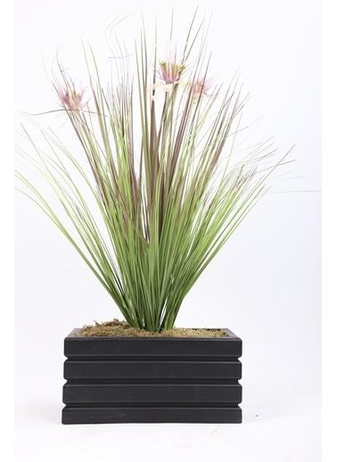 Kibrithane Çiçek Yapay Çiçek  Ahşap Saksı Püsküllü Kamış Aranjman Kc00200748 Renkli